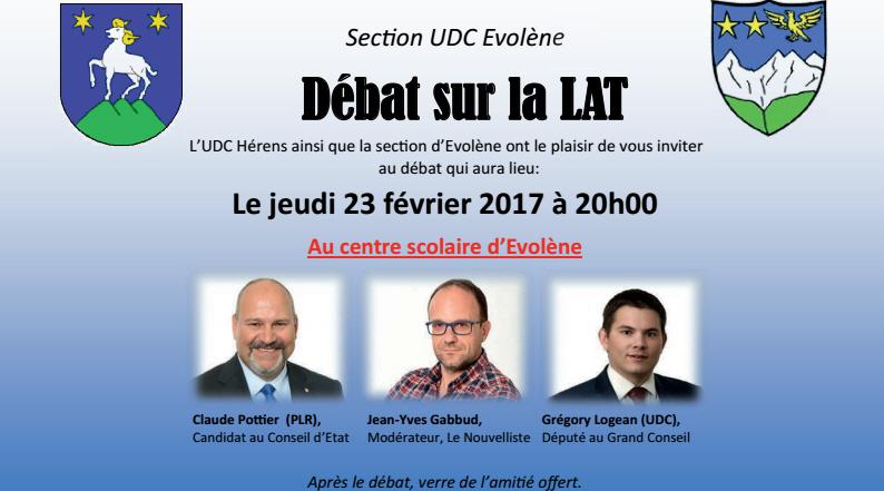 UDC Evolène: débat sur la LAT